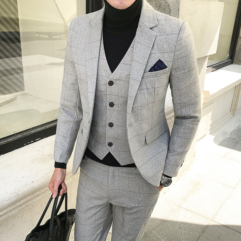 Plaid Tweed Suit Slim Fit Wedding Prom Suit Black Wine Red Navy Grey Suit Male Smoking Masculino Costume Homme Marriage 5xl