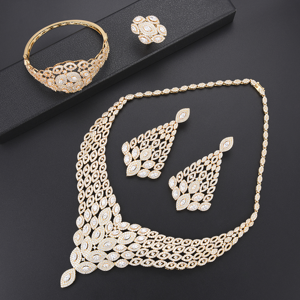 Deluxe African Engagement Necklace CZ dubai gold jewelry sets for women Necklace Earrings fashion jewelry Ring Bracelet Jewelry Deluxe African Engagement Necklace CZ dubai gold jewelry sets for women Necklace Earrings fashion jewelry Ring Bracelet Jewelry