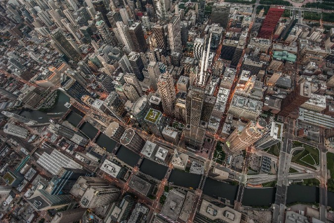 DIY frame USA Chicago cityscapes skyscrapers birds eye view Scenery Poster Home Decoration Printing Silk Wall Poster