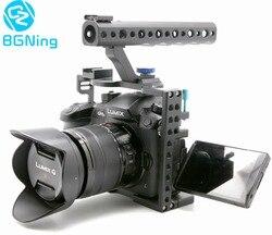 Gaiola da câmera para panasonic lumix gh5/gh5s caso protetor sistema mirrorless cam suporte de montagem de alumínio com alça superior