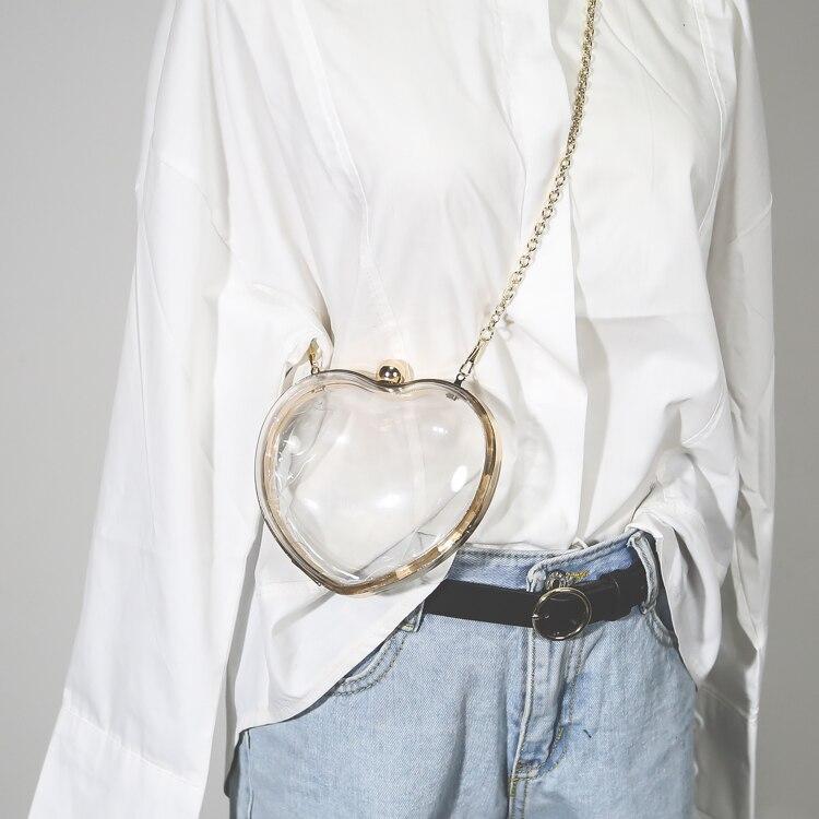 Лидер продаж Модные женские милые сердцу прозрачные цепи мешок акрил мини Сумки через плечо для Для женщин высокое качество Вечерние сумки ...
