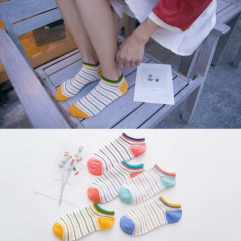 nový příjezd 2018 Dámské bavlněné ponožky Pruhované kawaii college ... 49cfdee80d