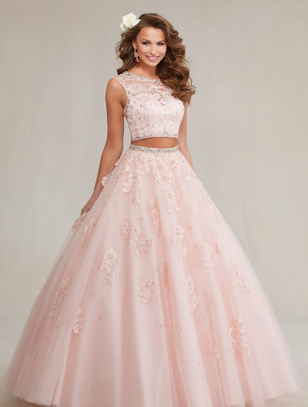 2017 New Arrival 2 Pieces Ball Gown Pink