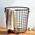 Cesta de armazenamento de artigos diversos de escritório criativo household suprimentos caixa de ferro de madeira fundo cestas de lavanderia casa orgainzer