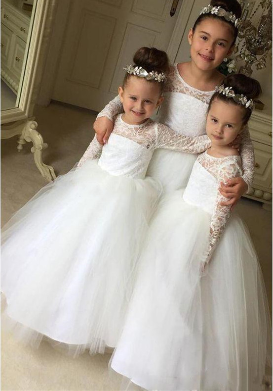 New Cute Puffy Tulle Little Girls Wedding Party Dress Lace Top Long Sleeves O Neck Flower Girl Dress Kids Birthday Gown Size2-16New Cute Puffy Tulle Little Girls Wedding Party Dress Lace Top Long Sleeves O Neck Flower Girl Dress Kids Birthday Gown Size2-16