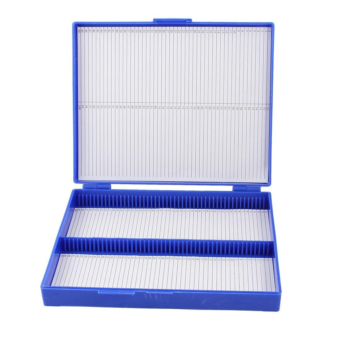 Royal Blue Plastic Rectangle Hold 100 Microslide Slide Microscope BoxRoyal Blue Plastic Rectangle Hold 100 Microslide Slide Microscope Box