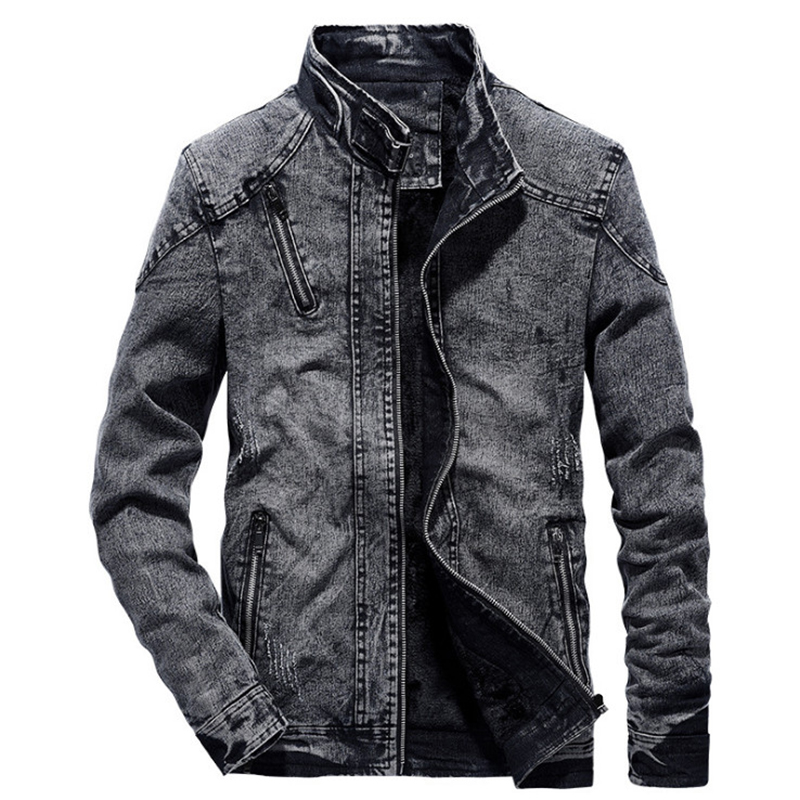 2019 New Fashion Men's Jean Jacket Autumn Winter Cotton Slim Fit Vintage Denim Men Jacket Trend Casual Black Denim Coat 4XL