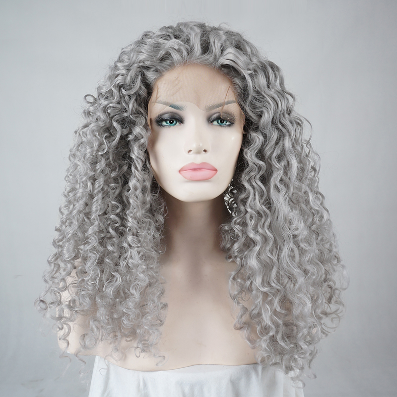 24 Quot Afro Gray Hair Curly Long Halloween Lace Front Wig