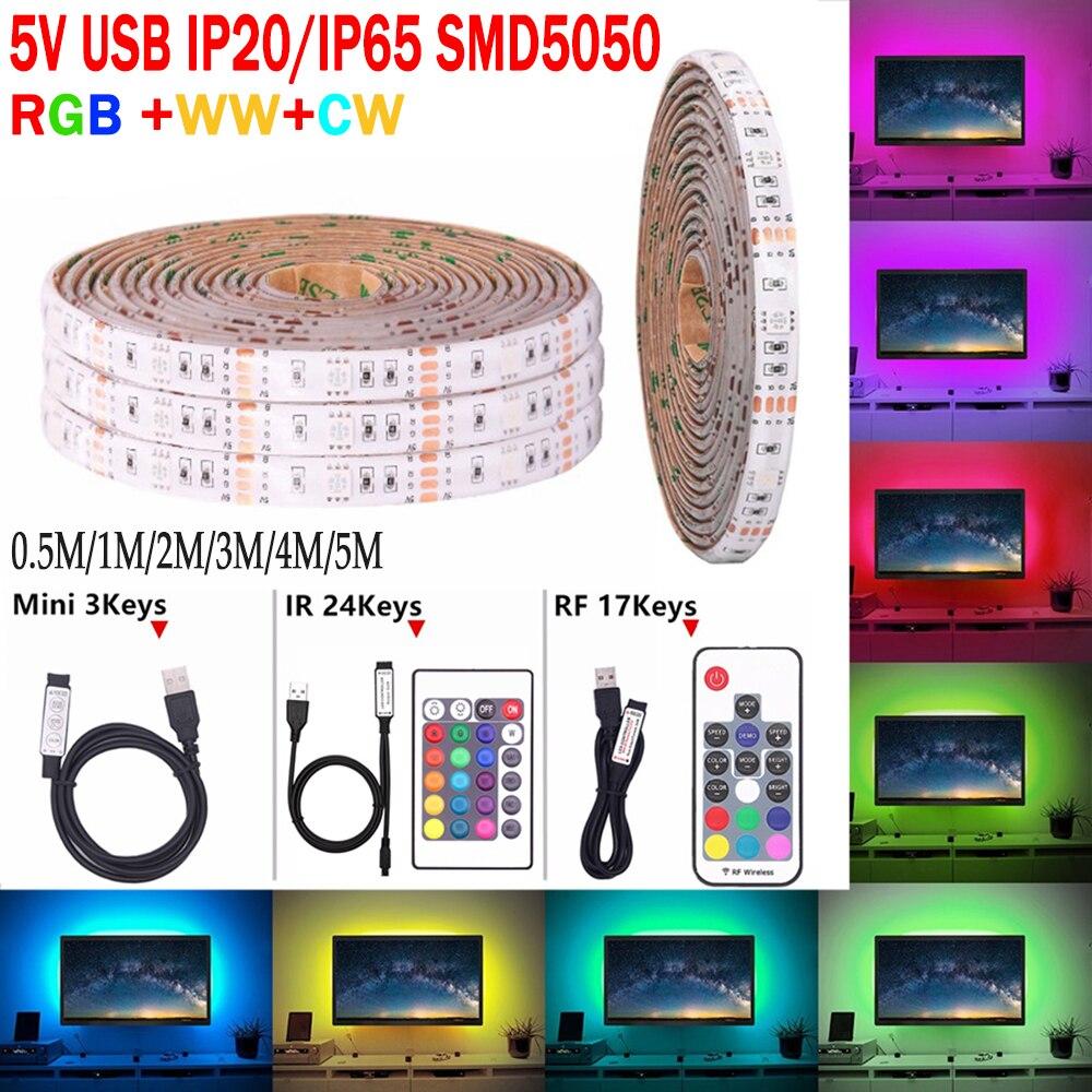 USB LED Strip 60LEDs Each Meter Cool White TV Backlight LED Strip RGB 5V  D30