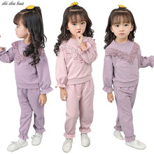 цена 2019 New Girl Kids Clothing Set Spring Autumn Cotton Long-sleeved T-shirt Lace Coat + Trousers Children Baby Sportswear Hot