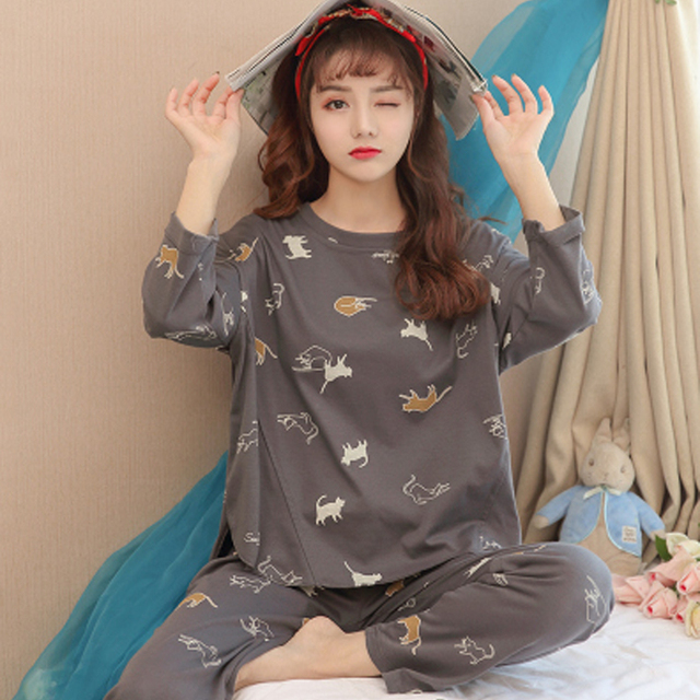 9eea4d489e 2019 Women s Spring and autumn long sleeve pajamas large size lady  sleepwear suit female Nightwear cotton Top home clothes