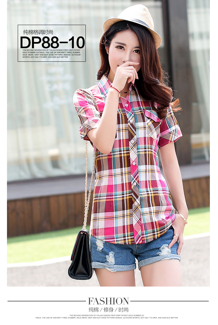 HTB197nNHFXXXXXmXpXXq6xXFXXXt - New 2017 Summer Style Plaid Print Short Sleeve Shirts Women