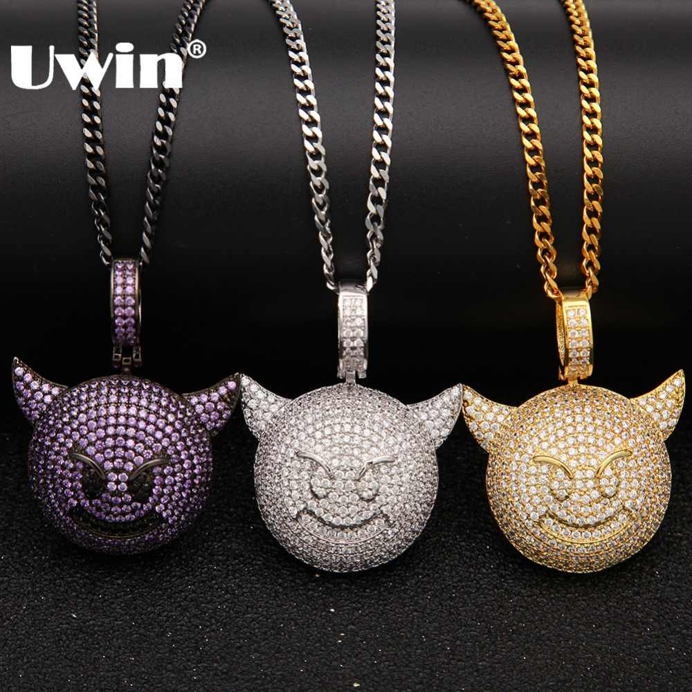 Uwin Mens Emoji Little Devil Necklace Micro Pave AAA Cubic Zirconia Pendant Gold Silver Black Chain Fashion Jewelry