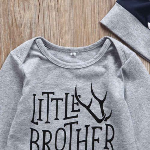 家族マッチング服新生児弟ロンパースビッグ tシャツ + ロングパンツ 2 ピース服の衣装