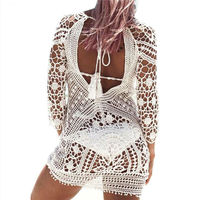 Beach Cover Up Sexy Robe De Plage Crochet Bikini Tunic Sarongs Swimwear Women Crochet Beachwear Dress