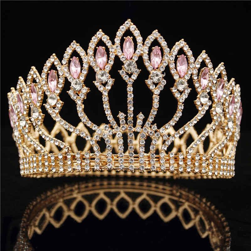 51ab056aa4 Baroque Diadem Rhinestone Queen King Bride Tiara Crown Jewelry Headdress  Bridal Wedding Tiaras and Crowns Hair Accessories