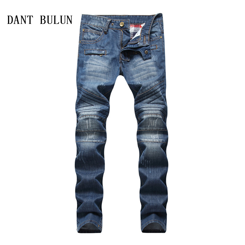 DANT BULUN Men Jeans Biker Vintage Zipper Fly Pleated Motorcycle Slim Fit Hip Hop Casual Blue Punk Denim Pants,LS1803