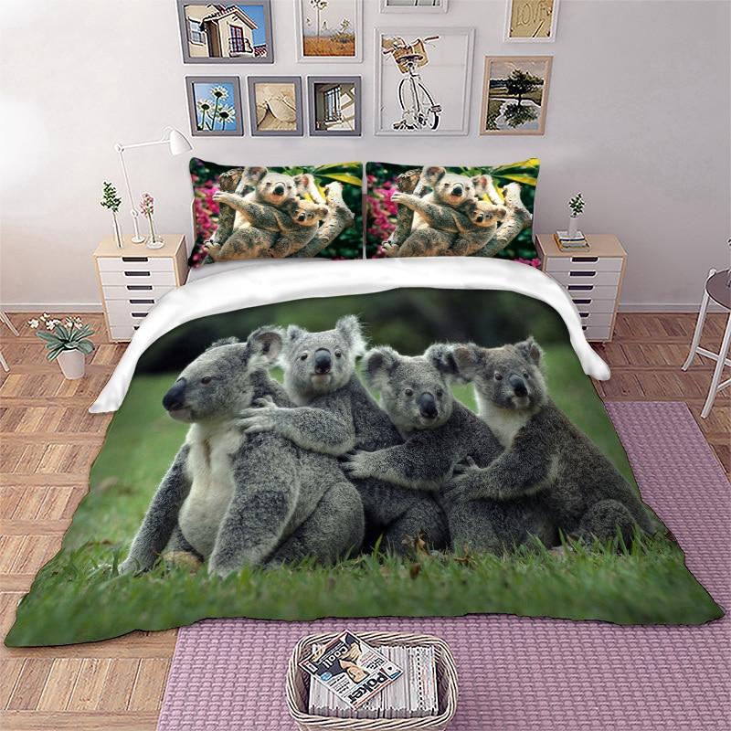 Australian Koala Bear Bedding Set Animal Duvet Cover Set Twin Full Queen King Size 3PCS Beddings