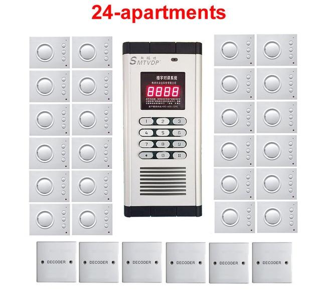 Top Quality Security non visual building intercom system for 24 apartments ,hand free audio door phone ,PASSWORD unlock