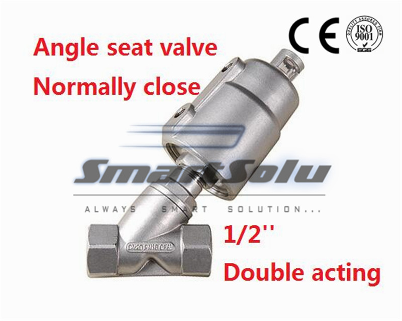Free shipping stainless steel angle seat valve DN15 1/2 inch normally close double acting SS for high temperature steam free shipping seat actuator double cheap steam water stainless steel valve angle dn25 1 inch normally open for air