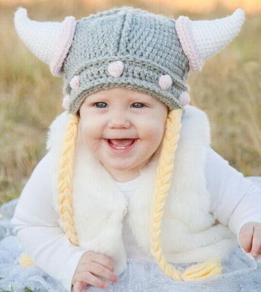 Niño a adulto crochet Viking sombrero del ganchillo niños casco niño casco  vikingo-crochet Viking 172dc012a7db