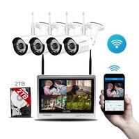 Аудио запись Беспроводной 4CH комплект видеонаблюдения NVR 12 inch монитор 4 шт. IP Камера Wi Fi HD 960 P Главная Открытый безопасности Камера Системы HDMI