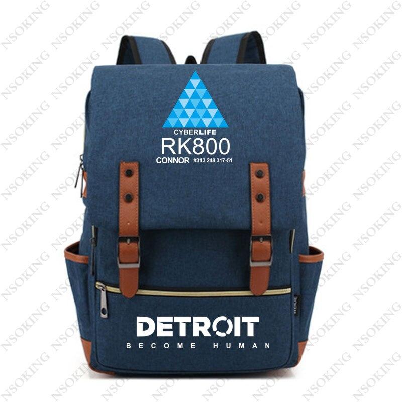 Detroit: devenir sac à dos humain Connor Anime étudiant école toile sac mode hommes femmes vintage voyage sacs à dos-in Sacs à dos from Baggages et sacs    1