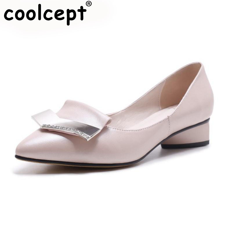 Coolcept Office Ladies Real Leather High Heel Shoes Women Metal Pointed Toe Thick Heels Pumps Party Female Footwears Size 34-39 women ladies flats vintage pu leather loafers pointed toe silver metal design