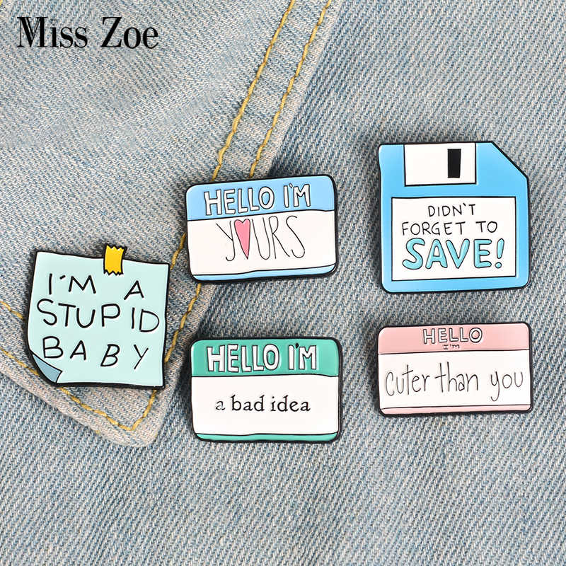 5Styles Funny Dialogue Enamel Pins Custom Humor Brooches Bag Clothes Lapel Pin Label Button Badge Cartoon Jewelry Gift Friends