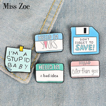 5Styles Funny Dialogue Enamel Pins Custom Humor Brooches Bag Clothes Lapel Pin Label Button Badge Cartoon Jewelry Gift Friends(China)