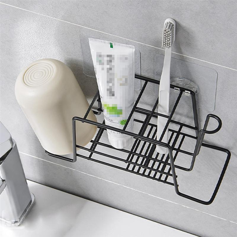 Image 4 - Bathroom Toothpaste Toothbrush Holder Durable Toiletries Storage Rack Shelf Organizer Bathroom Bedroom Kitchen Accessories-in Toothbrush & Toothpaste Holders from Home & Garden