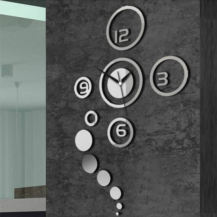 silver mirror effect ring wall clock modern design wall decor wall decoration living room home decor