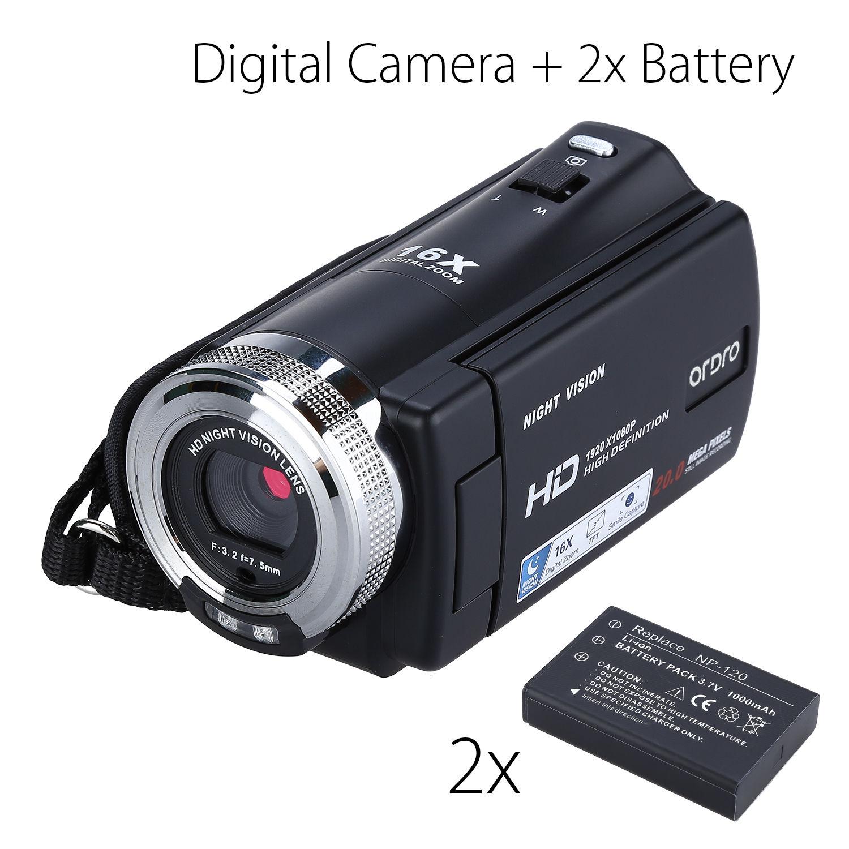 """ORDRO HDV V12 3.0 """"LCD FHD 1080 P กล้องวิดีโอดิจิตอล 16x Zoom DVR IR Night Vision CMOS Sensor ไมโครโฟน + แบตเตอรี่ 2 pcs-ใน กล้องวิดีโอ จาก อุปกรณ์อิเล็กทรอนิกส์ บน AliExpress - 11.11_สิบเอ็ด สิบเอ็ดวันคนโสด 1"""