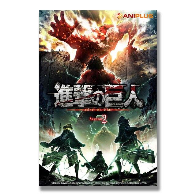 Аниме Плакат гобелен Атака титанов материал шелк