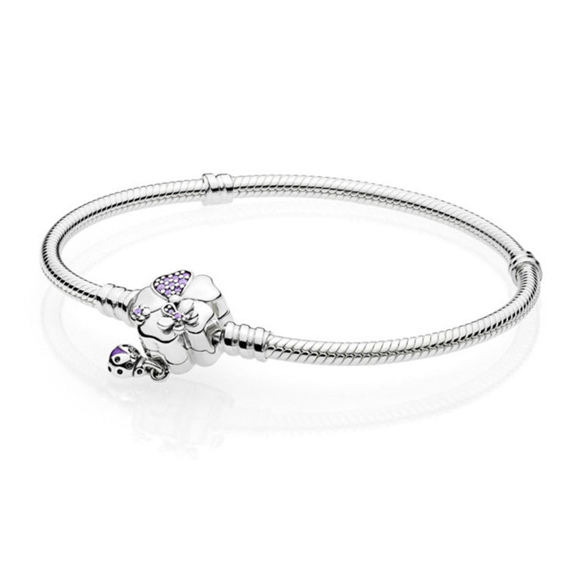 Authentic 925 Sterling Silver Bead Charm Snake Chain Fit Pandora Moments Silver Bracelet with Wildflower Meadow Clasp for Women wildflower