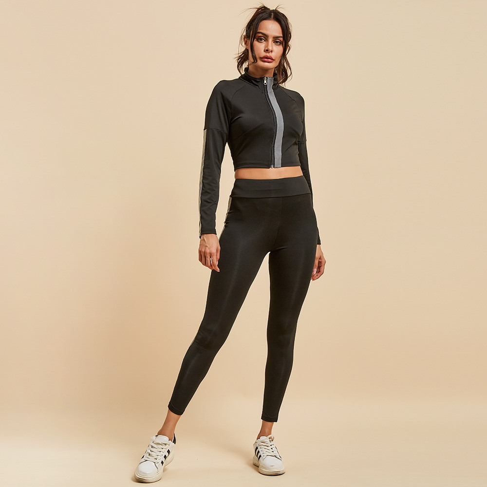 glitter 2 piece sets 2019 black two piece striped reflective set for women clothing crop top and pants long sleeve tracksuit in Women 39 s Sets from Women 39 s Clothing