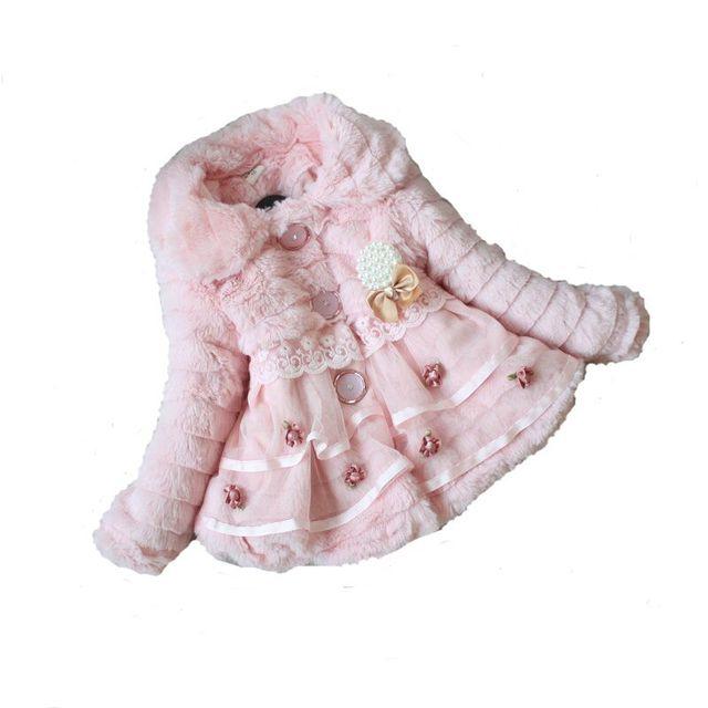 2d2deee86 Infant Winter Xmas Warm Flower Lace Jacket Baby Girl Faux Fur Fleece ...