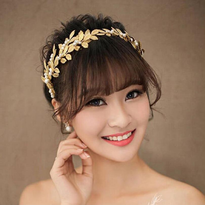 handmade Bridal Hair Accessories Tiara crowns Gold Leaf Head Piece head piece Women Girls