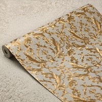 Classic European Luxury Gold Foil Wallpaper 3D Luxury Floral Wall Paper Mural Living Room Bedroom Wallpaper