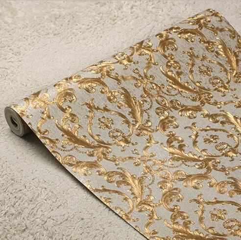 Classic European Luxury Gold Foil Wallpaper 3D Floral Wall Paper Mural Living Room Bedroom