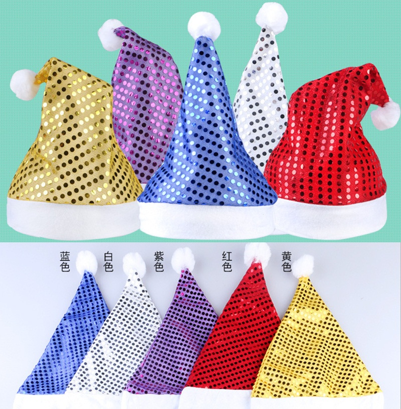 2 X Adult   Kids Funny Sequins Decoration Christmas Cosplay Party Santa s  Hat Soft Christmas Hats 77cb3a182940