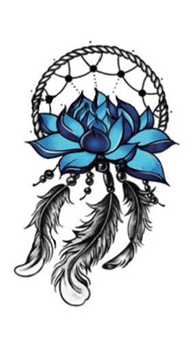 Waterproof Temporary Fake Tattoo Stickers Dream Catcher Feather Blue