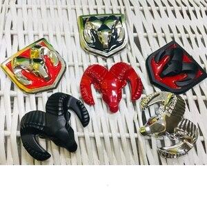 Image 2 - 3D Car Head Grill Tailgate 3D Stickers Metal Emblem Refitting Metal Chrome Badge Emblem Sticker Ram head for Dodge Ram Caliber
