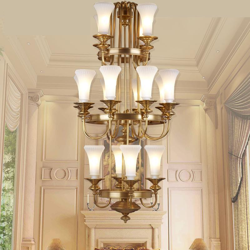 Led Extra Large Gold Chandelier With White Glass Lamp