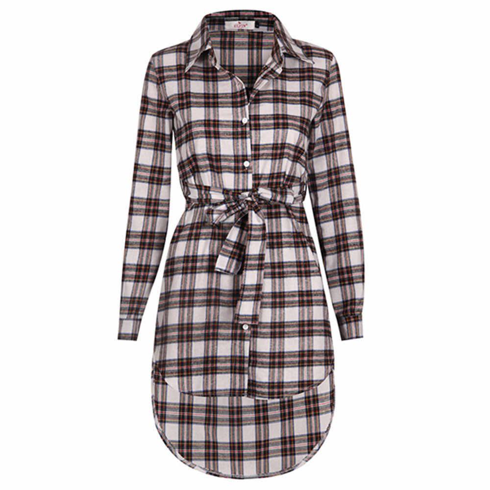 Новинка, женское платье, сексуальное офисное платье с длинным рукавом, асимметричная клетчатая рубашка, Женская клетчатая рубашка, мини-юбка, клетчатая рубашка с длинным рукавом