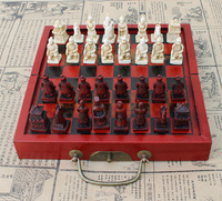 Chinese Traditional Chess Games Antique Figurines Terracotta Warriors Chess Set Collection Entertainment Gifts