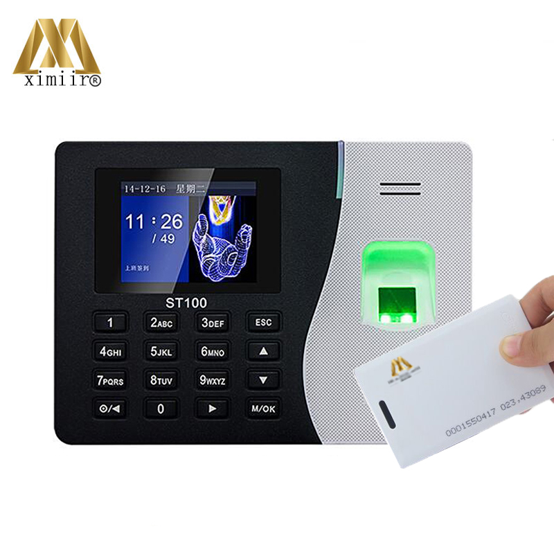 New Arrival ZK ST100 Biometric Fingerprint Time Attendance System Time Recording With 125KHZ RFID Card Reader Linux System