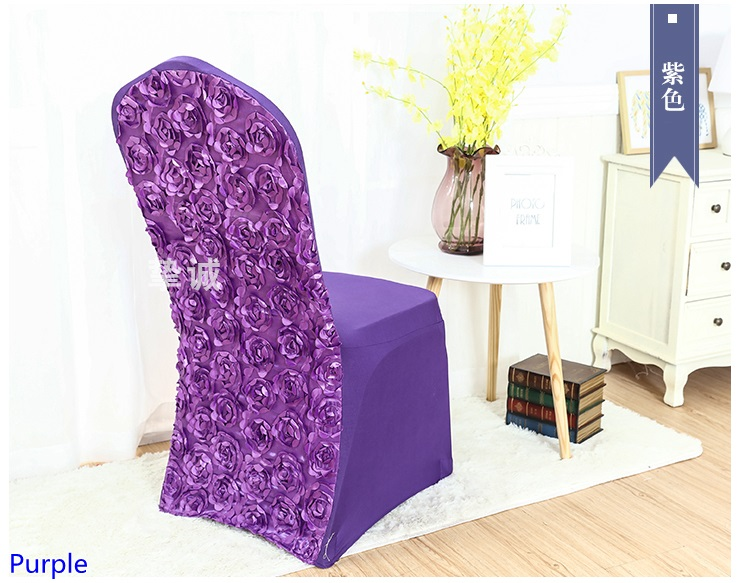 Purple Colour Spandex Chair Covers Rosette Chair Cover