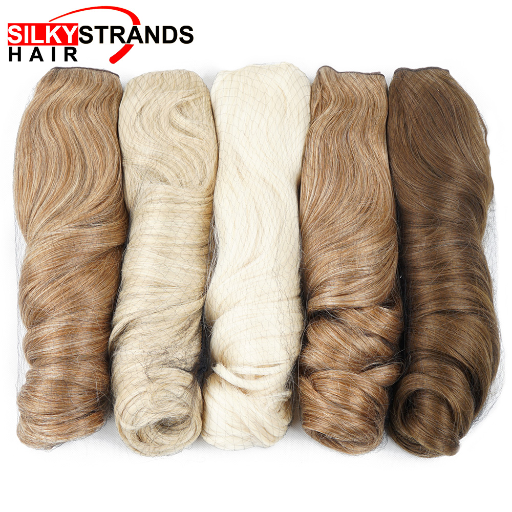 משיי גדילים סינטטי clip-בשיער הרחבות 190 גרם אחד חתיכה חום עמיד שווא בלונד נמתח גלי קליפ שיער