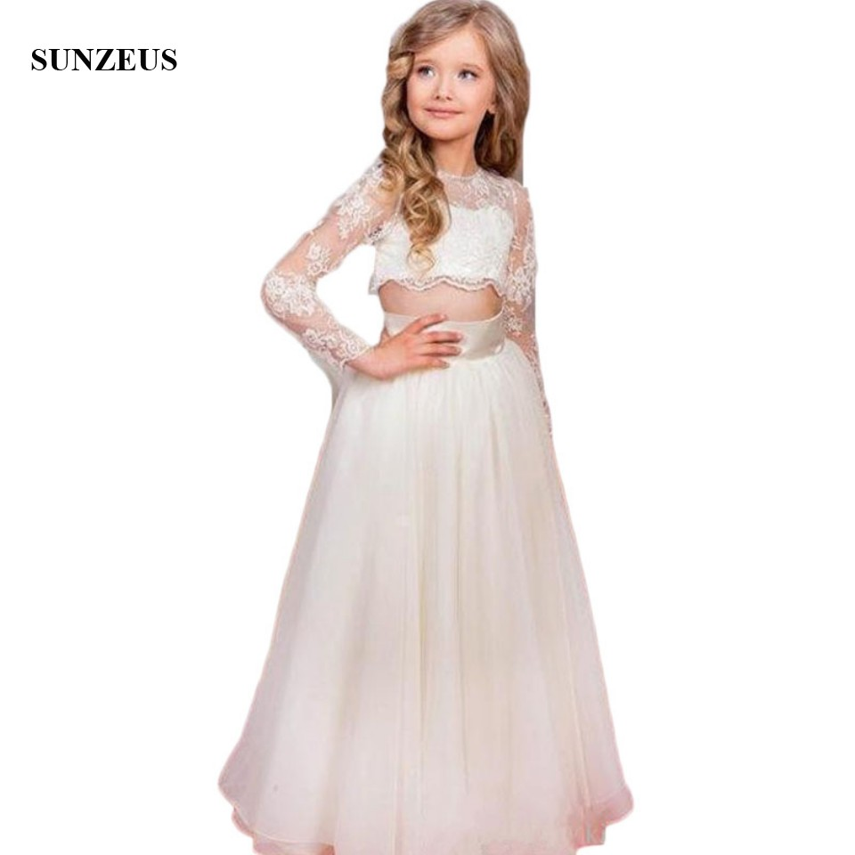 2017 New Two Pieces Girls White Graduation Dress First Communion ...